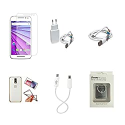 High Quality Combo of Moto G3 Temper Glass + 2 Amp USB Charger + USB Data Cable + Attractive Back Cover (Transparent Back with Golden Border) + Android to Android Charging Cable