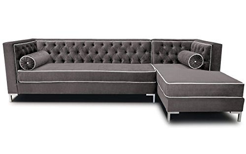 Decenni Tobias 8 Foot Tufted Left Arm Chaise Facing Dove Piping Sectional Cosmic front-723341