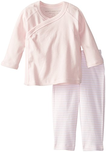 Burt's Bees Baby Baby-Girls Organic Kimono Top and Striped Pant Set, Blossom, 3-6 Months