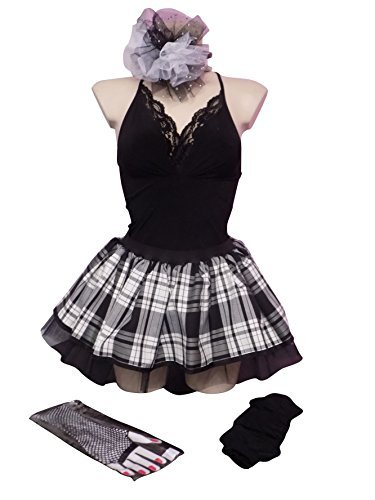 Gothic Black White Tartan Tutu Skirt Legwarmers Gloves & Headband Set (One Size)