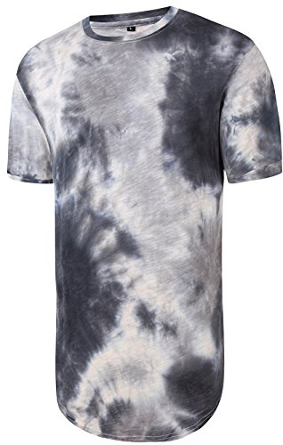 pizoff-unisex-hip-hop-basic-long-t-shirts-distressed-with-batik-floral-print-y1726-03-xxl