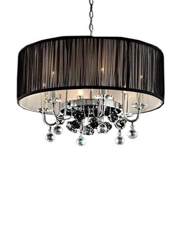 ORE International Crystal Rose 6-Light Ceiling Lamp, Silver/Black