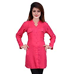 WOMEN LONG CASUAL RAYON SHIRT DARK PINK (Large)