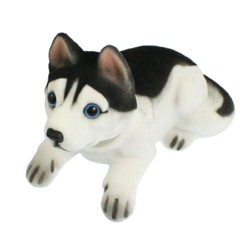 Decorazione per auto cane husky bianco nero che muove la testa con perline profumate