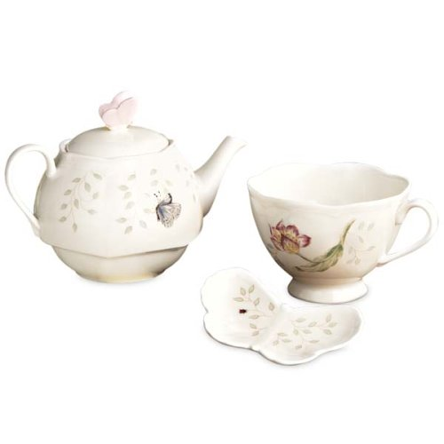 Lenox Butterfly Meadow Stackable Tea Set With Bag Holder