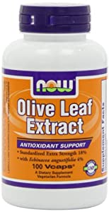 NOW Foods Olive Leaf Extract with Echinacea, 100 Capsules / 500mg