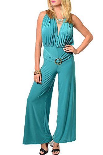Dhstyles Women'S Trendy Plunging Neckline Open Back Full Length Romper-Large - Jade front-895977