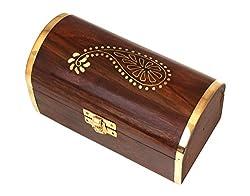Mothers Day Gifts Rosewood Wooden Jewelry Trinket Chest Organizer Keepsake Storage Box Brass Inlay by Store Indya
