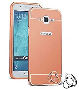 Aart Luxury Metal Bumper + Acrylic Mirror Back Cover Case For Samsung J2 RoseGold+ Flexible Portable Mount Cradle Thumb OK Designed Stand Holder
