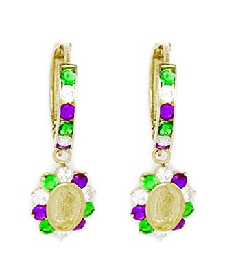 14ct Yellow Gold Green and Red CZ Flower Drop Hinged Earrings - Measures 25x9mm