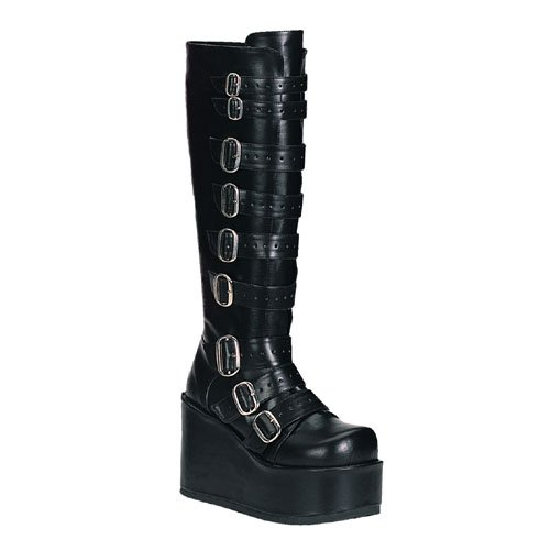 CONCORD-108, 4 1/4 Buckled Platform Knee Boots in Two Colors, Demonia by Pleaser USA