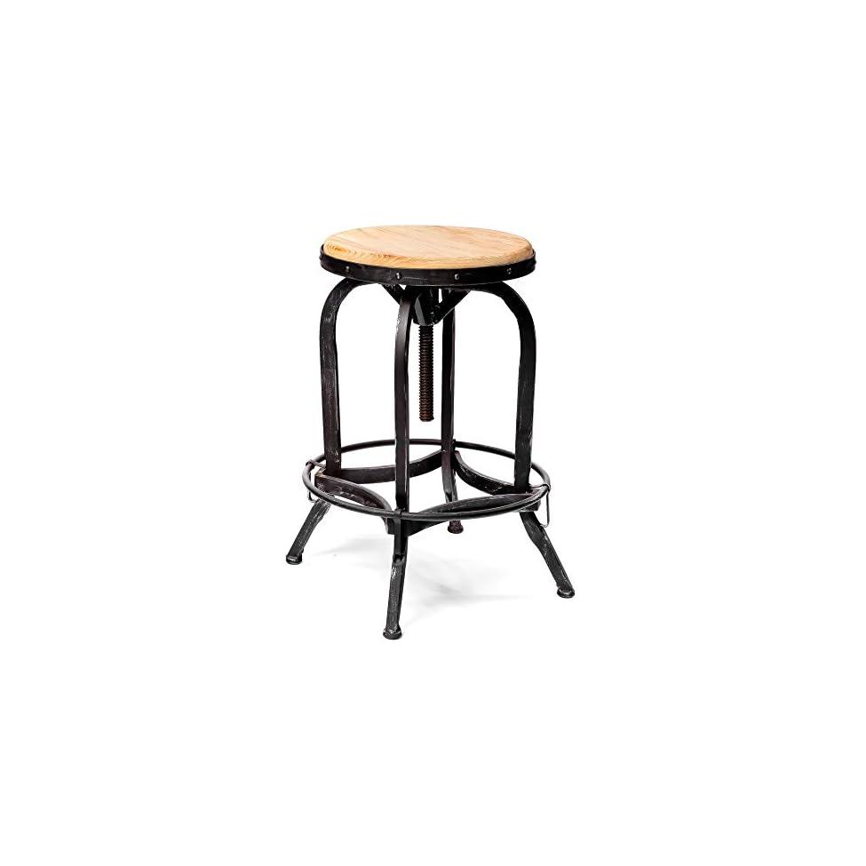 Weathered oak adjustable bar stool