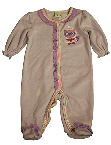 Happi By Dena - Baby Girls Long Sleeve Footed Velour Coverall, Purple 34845-3-6Months