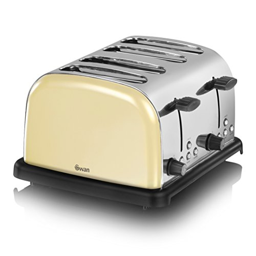 Swan ST14020CREN 4-Slice Stainless Steel Toaster, Cream