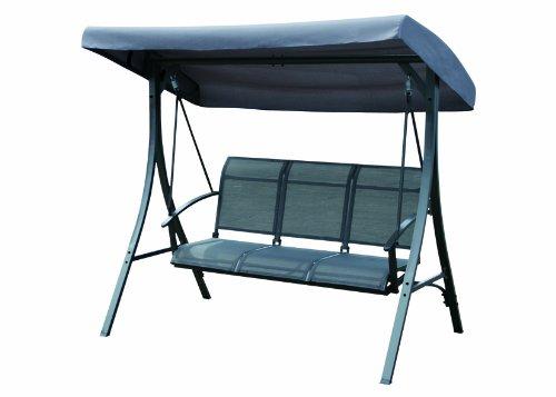 Romsey 3-Seater Outdoor Garden Hammock Swing Seat (Charcoal Grey)