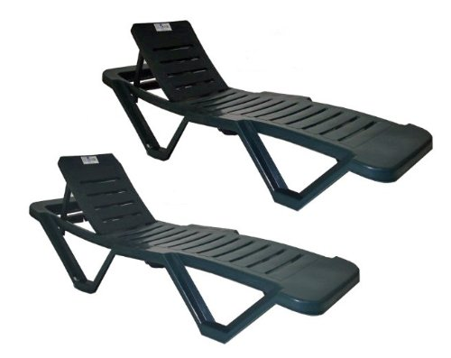 Resol Green Sun Lounger - (Pack of 2 Sun Loungers) - UV Resistant, stylish and durable furniture for your garden