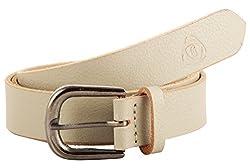 Garvan Women's White Leather Belt (LBW 11-White-re, Size : 34)