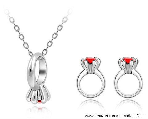 Nicedeco JE-SW-TZ061-lightred,Swarovski Elements Austrian Crystal Jewelry Sets,A Oath,Necklace,ring(2-Piece Set),Elegant style and exquisite craftsmanship