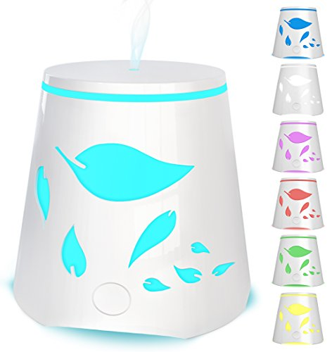 Aromatherapy Essential Oil Diffuser 7 Color Changing Led Lights - Portable Ultrasonic Cool Mist Humidifier - Auto Shutoff Best Aroma Diffusers For Home Office Kids and Spa up to 800 sq ft room