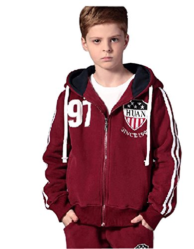 2 Pieces Suit with Velvet Children Youth Thickened Sports Sweater-Red wine