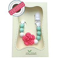 2 in 1 Pacifier Clip - Teething Baby Silicone Beads with Unique Shapes - Girl's Binky Holder - Best for Teether Toys, Stuffed Animals, Soothie/MAM, Infant Blankets & Drool Bibs from JEsentials LLC