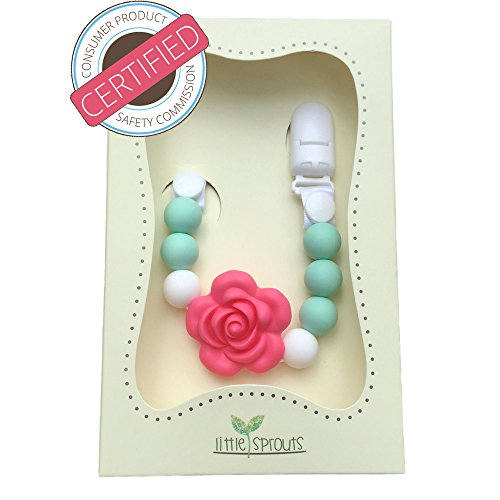 Great Holiday Gift! 2 in 1 Pacifier Clip – Teething Baby Silicone Beads with Unique Shapes – Girl's Binky Holder – Best for Teether Toys, Stuffed Animals, Soothie/MAM, Infant Blankets & Drool Bibs