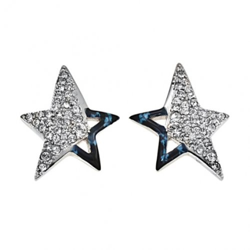 Thierry Mugler T31101SBZ Women's Earrings Stainless Steel and Blue Enamel