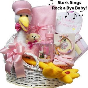 Art Of Appreciation Gift Baskets Rock A Bye Baby Gift Basket With Singing Plush Stork, Girls