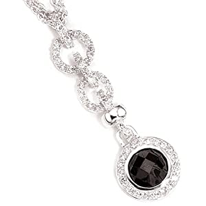 Jewel necklace pendant 925 Silver, zirconia multicolored. 45 to 42cm shortened h-w.approx. 57.8-16.1