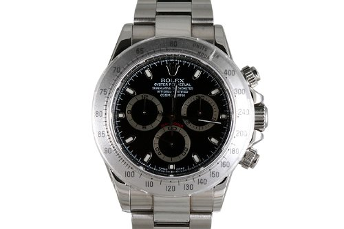 Rolex Mens Stainless Steel Daytona Black Dial