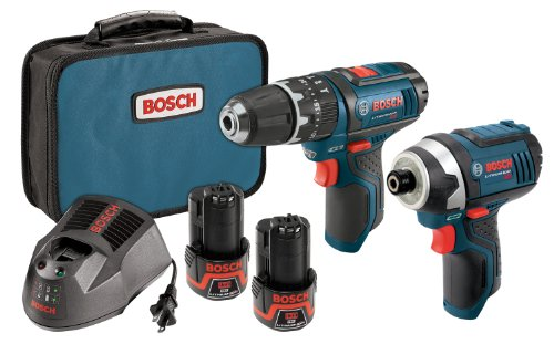 Bosch-CLPK241-120-12-Volt-Max-Lithium-Ion-2-Tool-Combo-Kit-with-38-Inch-Hammer-Drill-and-14-Inch-Hex-Impact-Driver-2-Batteries-Charger-and-Case