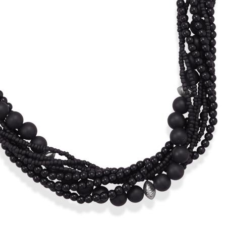 18 Inch+3 Inch Multistrand Black Onyx and Glass Bead Necklace