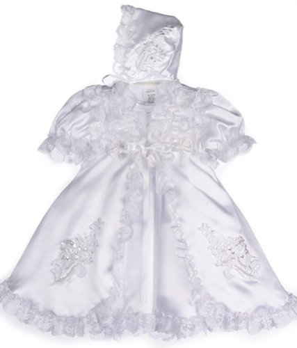 Baby-Girls KID Collection Satin & Lace Christening Set 6-12M Med White (kid B559)
