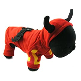 Alfie Couture Designer Pet Apparel - Waylon Devil Costume Jumper with wings and horns - Color: Red, Size: S