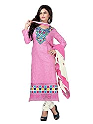 Vibes Womens Cotton Patch Work Straight Dress Material (V248-1006 _Pink _Free Size)