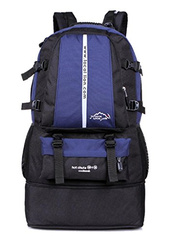 Zerd Extensible 35L-50L Waterproof Nylon Mountaineering Camping Travel Backpack Trekking Bag Blue