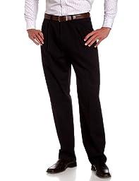 Savane Men's Pleated Wrinkle Free Twill Pant, Navy, 32W 30L