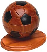 Classic Jigsaw 3D Soccer Ball Hand-Crafted Wooden Puzzle on a Stand, Brain Teaser, Gift Boxed