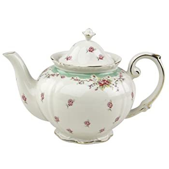 Gracie China Vintage Green Rose Porcelain 5-Cup Teapot
