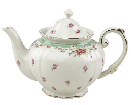 Gracie China Vintage Green Rose Porcelain 5-Cup Teapot (Green Floral Tea Kettle compare prices)