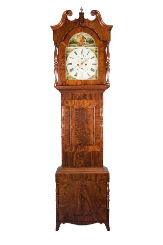 Antique Mahogany Longcase Grandfather Clock w Painted Dial