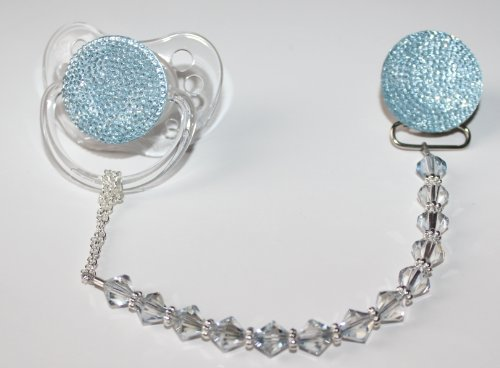 Blue Swarovky Crystal ONLY Pacifier Clip (CSGB)