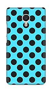 Amez designer printed 3d premium high quality back case cover for Meizu M3 Note (Black n Blue Dots Pattern)