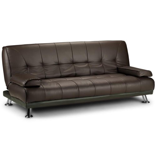 Large Italian Faux Leather 3 Seater Sofa Bed Futon (12002-D02 Brown)