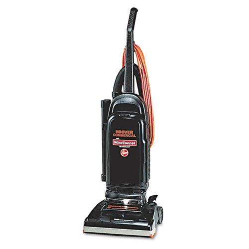 Hoover Products - Hoover - Commercial WindTunnel Bag-Style Upright Vacuum, 17 lb, Black/Safety Orange - Sold As 1 Each - Uses the WindTunnelTM technology, promising to pick up more dirt than any other clean-air upright. - 12-amp motor. - Nine-stage allergen filtration system works with reusable three-layer allergen filter cloth bag that is capable of filtering out 100% of dust mites and their eggs plus 99.98% of ragweed and common grass pollens. - The six-piece on-board tool set with super s