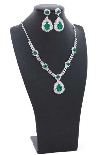 Emerald Green Medallion Rhinestone Necklace Set;Rhodium Silver
