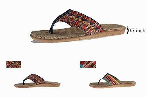 Upinva Flip-folps Slippers Unisex Couples Linen Cotton Y-shape Strap Thong Open Tote Sandals Moisture Wicking Anti-stink Shoes Non-slip Mediterranean-style