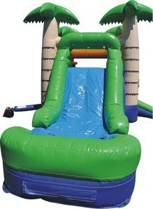 Bounce House Inflatable Combo Tropical Moon Walk With Wet Or Dry Slide Includes 1.5 Hp Blower And Free Shipping front-630863