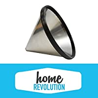 Chemex 6, 8, 10 Cup Comparable Washable & Reusable Stainless Steel Cone FS-100 Coffee Filter Replacement; Home Revolution Brand