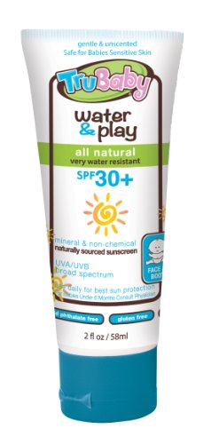 TruBaby Water and Play SPF 30 Plus Water-Resistant UVA/UVB Sunscreen Lotion, Unscented, 2 Ounce